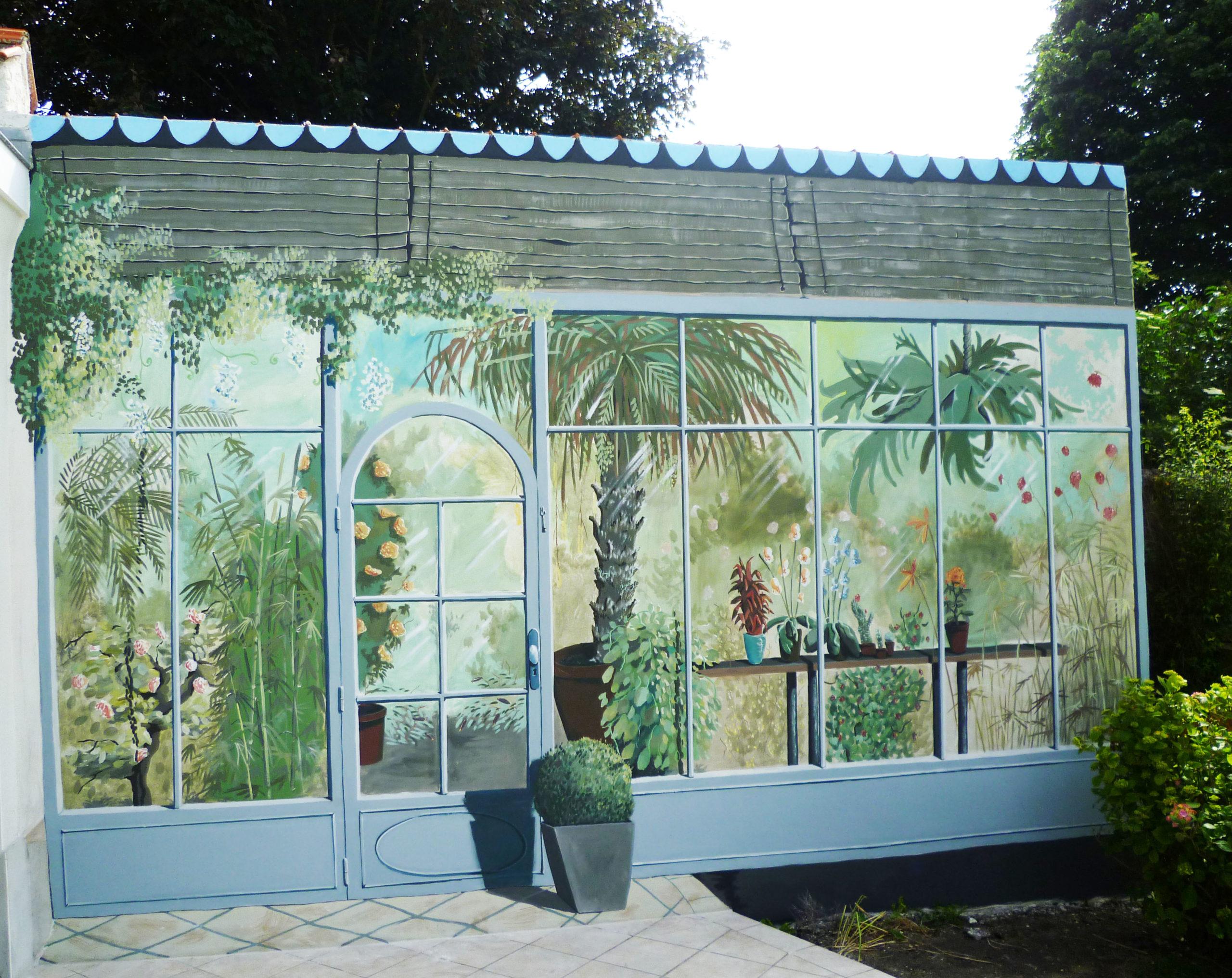 Décor peint de jardin d'hiver sur une terrasse